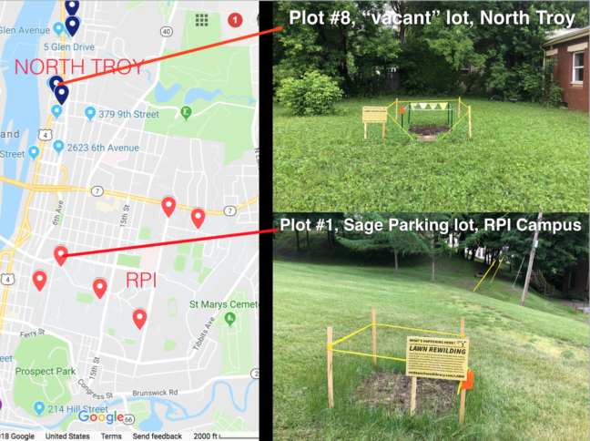 Map of established test plots, Spring-Fall 2018, Troy, NY
